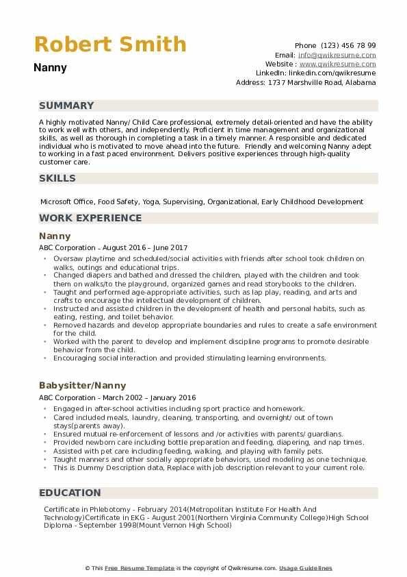 nanny resume samples qwikresume  image result for resume