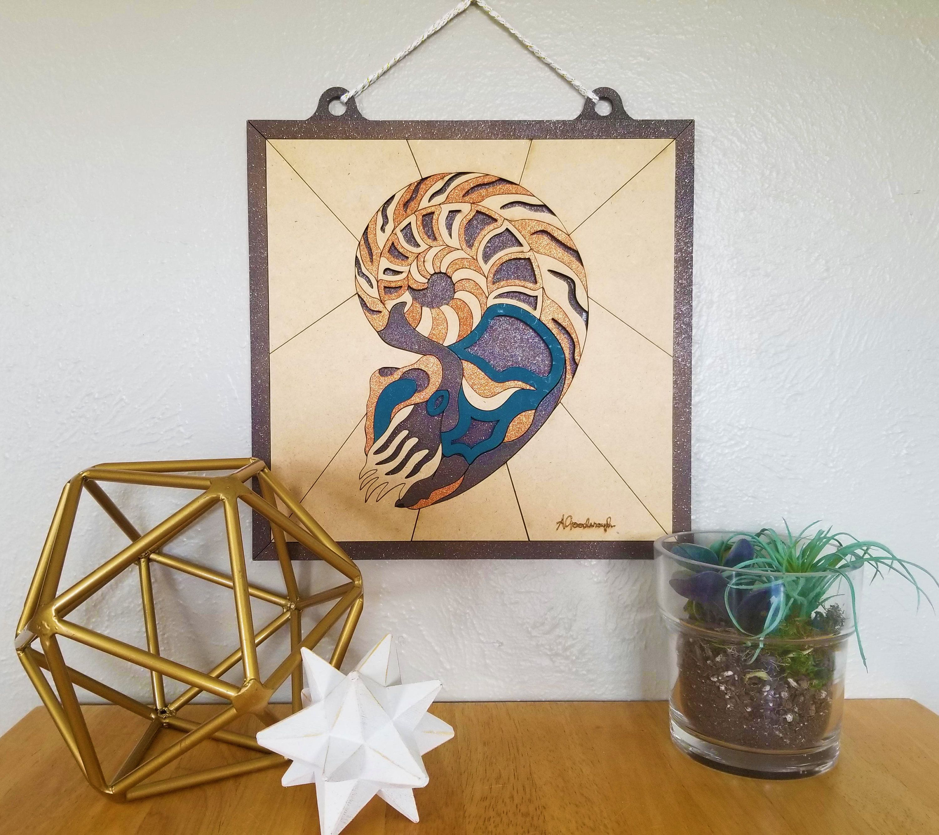 Wood wall art d nautilus laser cut laser art pinterest