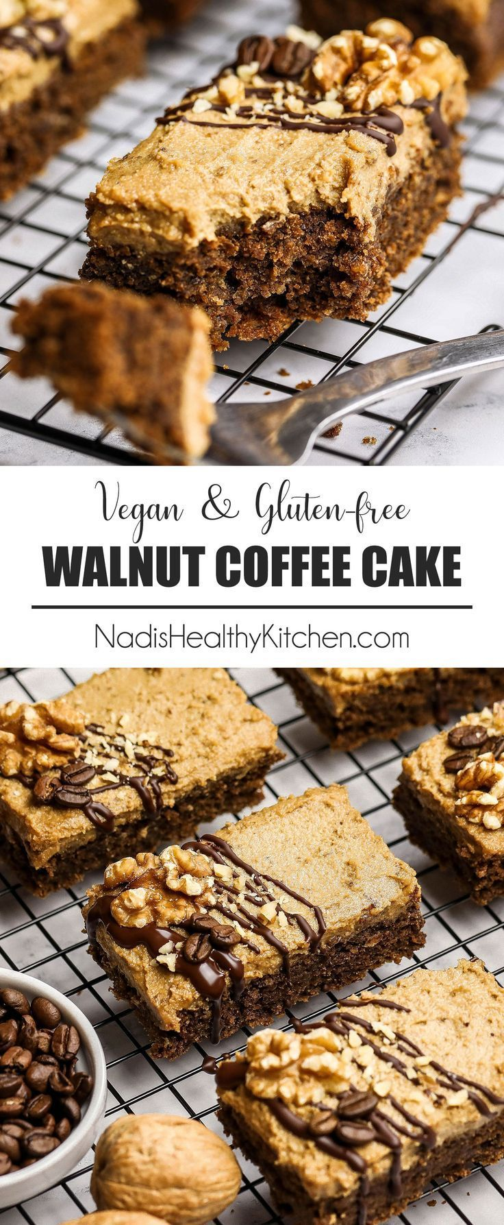 California Walnut Coffee Cake Bars - UK Health Blog - Nadia's Healthy Kitchen