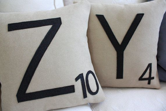 COZY Scrabble Pillows Inserts Included // by dirtsastudio on Etsy