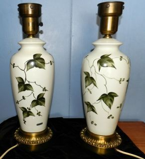 Vintage Tyndale Table Lamps Pair Signed Hand Painted Green Ivy Design Ceramic Ceramic Lamp Ceramics Hand Painted