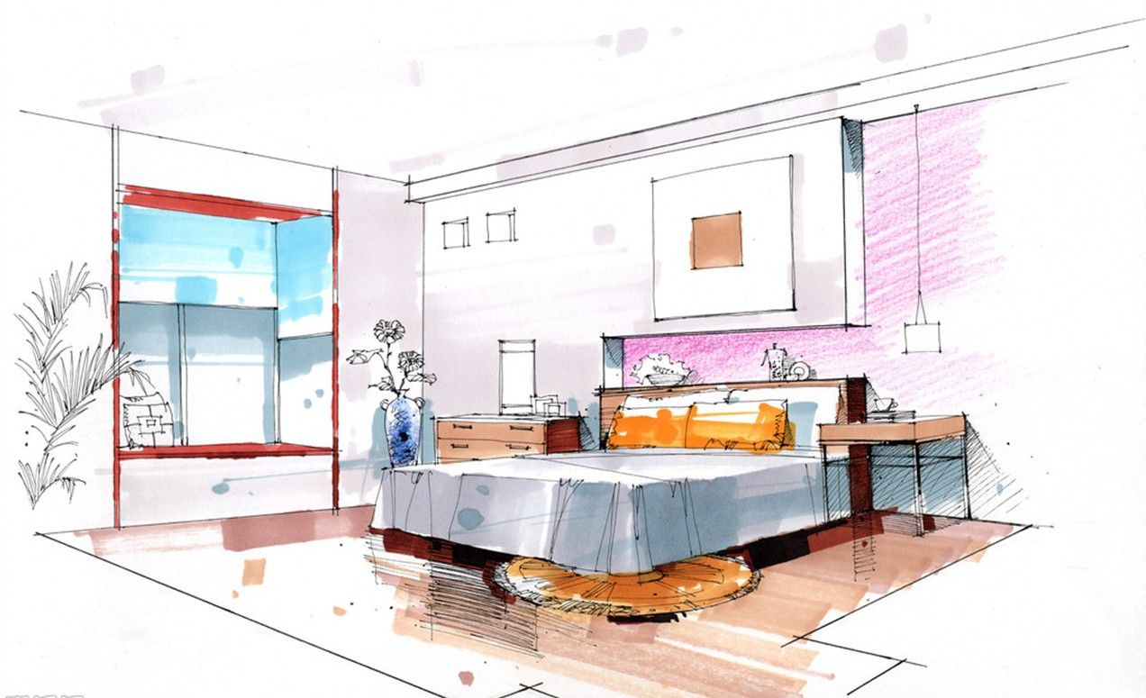 Bedroom drawing with color - Bedroom Background Walls And Desks Sketch