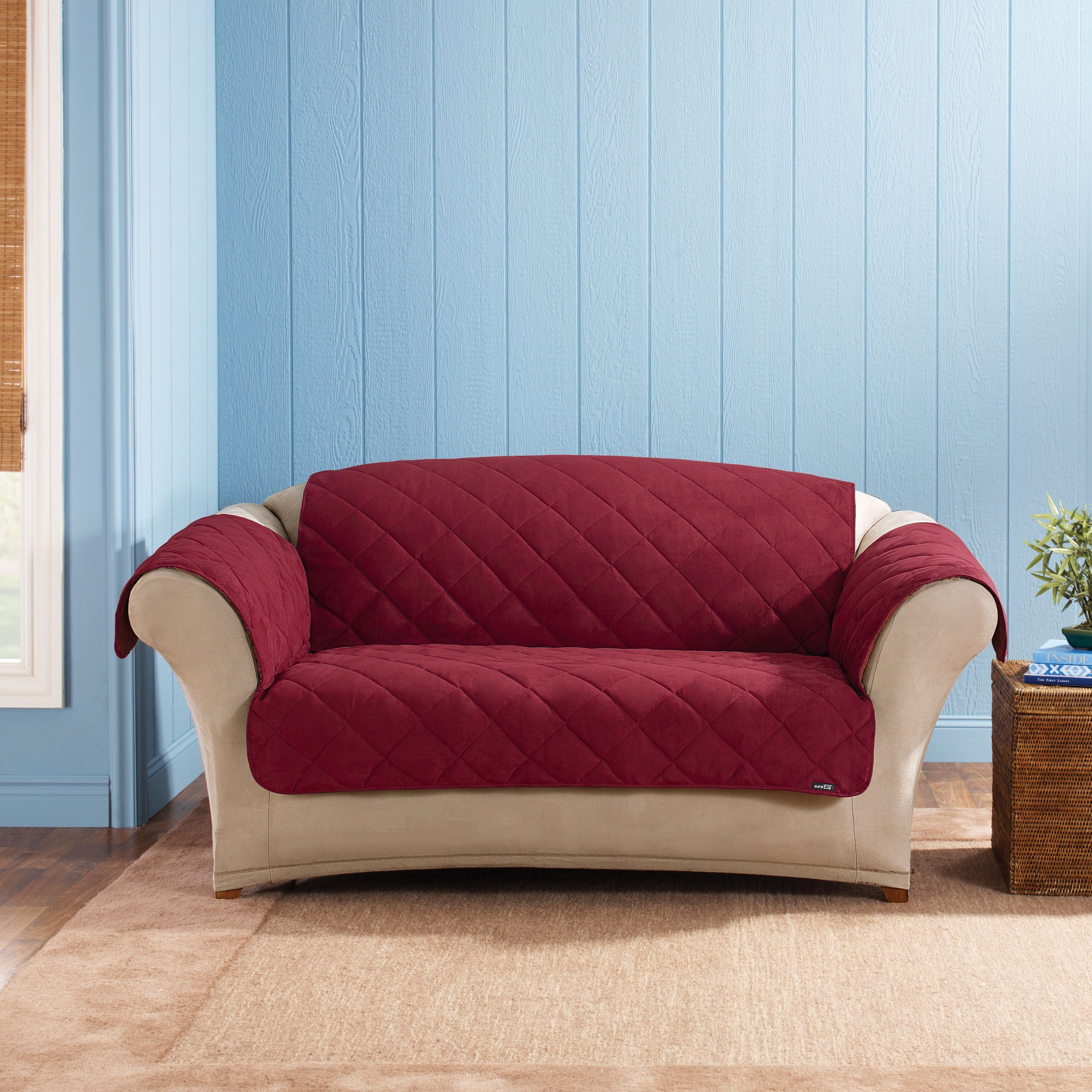 Prime Sure Fit Soft Suede Sherpa Reversible Loveseat Pet Throw Bralicious Painted Fabric Chair Ideas Braliciousco