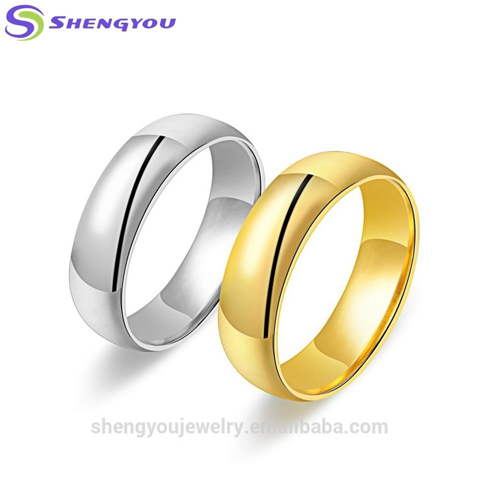Simple Design Stainless Steel Metal 3D Cutting Gold Couple Ring ...