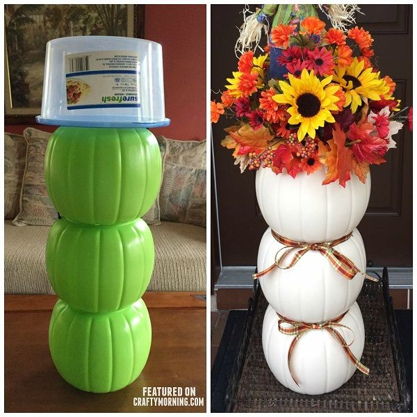 Today i'm featuring Cathy Harris-Lupo's brilliant craft she made! She turned three plastic pumpkin buckets from Halloween into a snowman and a beautiful fall/Thanksgiving decoration! Just paint the buckets and hot glue them together. Paint on a face. Glue sticks for the arms with a small cardinal sitting on the branch, and add a scarf! … -   25 ribbon crafts thanksgiving