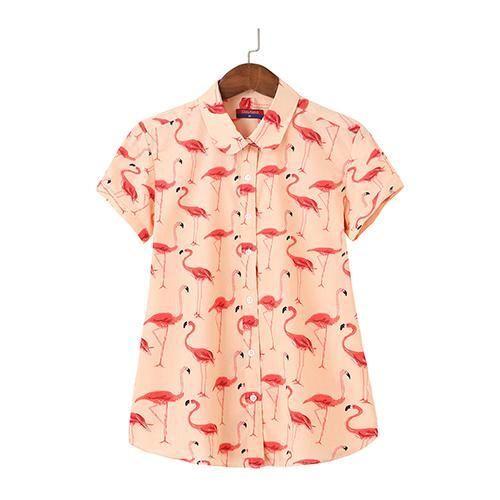 db6dd7965135b5 2018 Floral Short Sleeve Shirt Women Blouse Cotton Top Casual Summermodkily