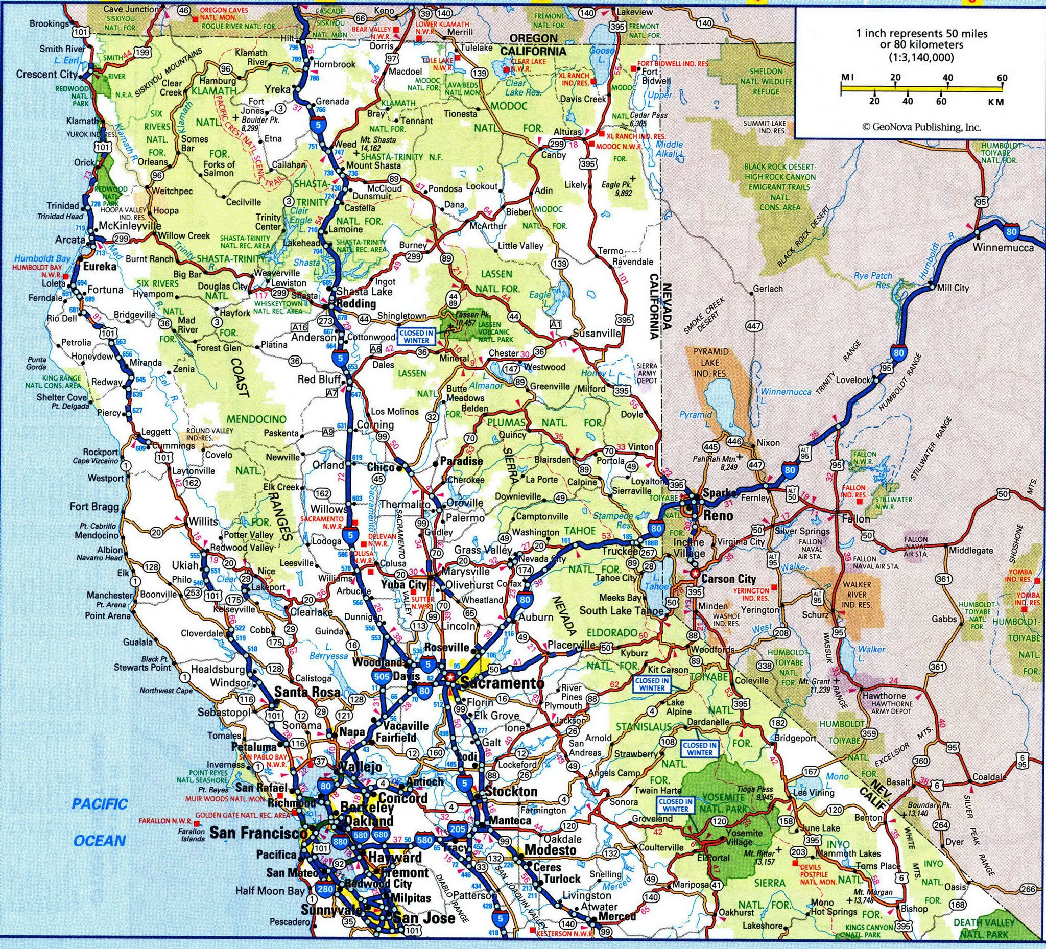 Map Of North CaliforniaFree Maps Of US TravelUS California - California road map