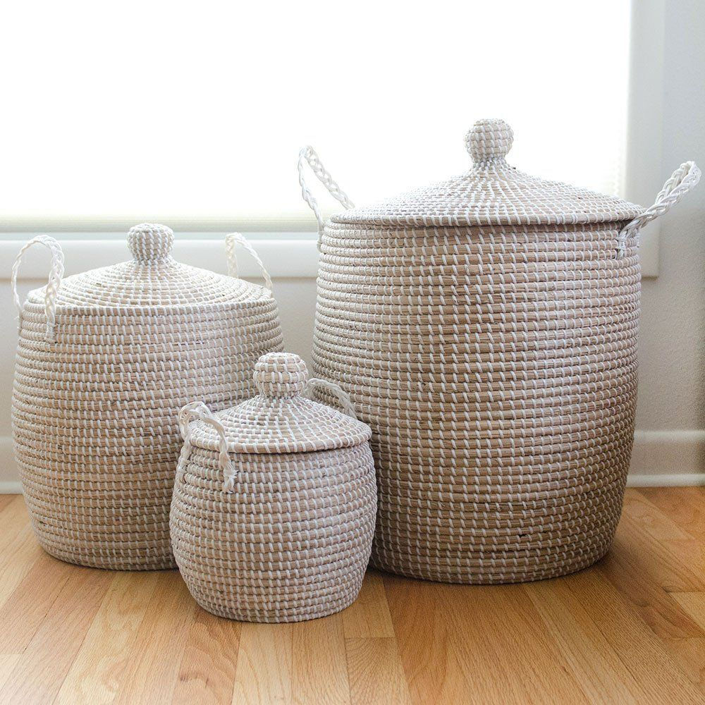 Charmant Etta Woven Storage Basket   White   Large