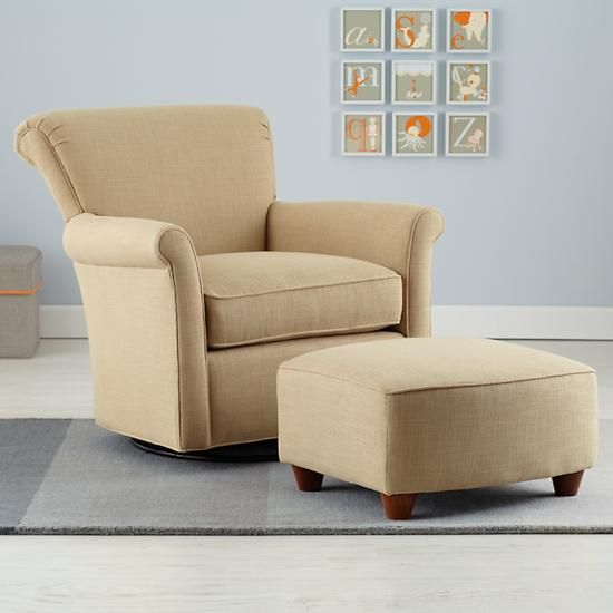 Nursery Gliders Cream Swivel Glider Chair And Ottoman In