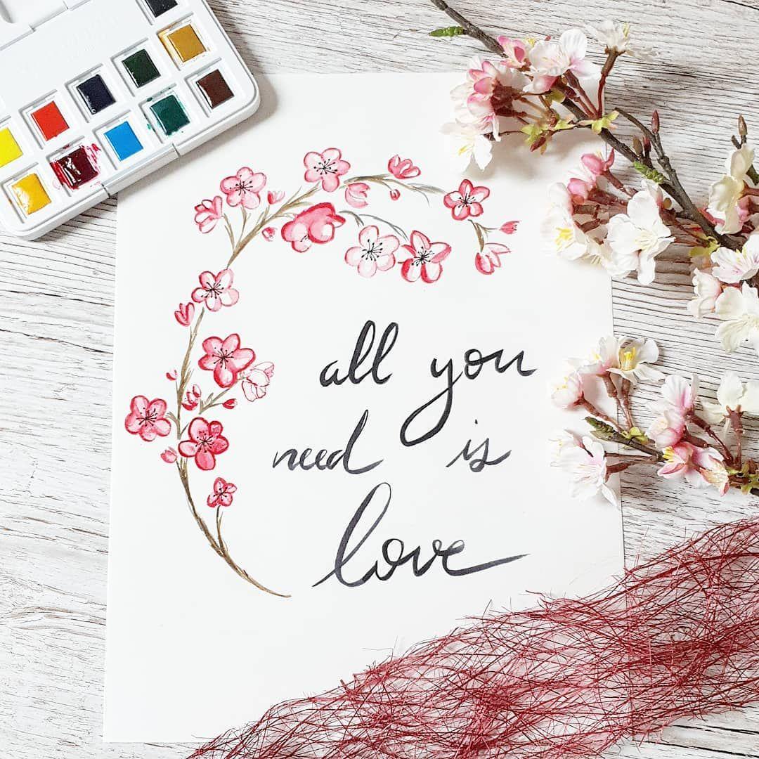 Aquarelle Amour All You Need Is Love Fleurs De Cerisier Fleur De