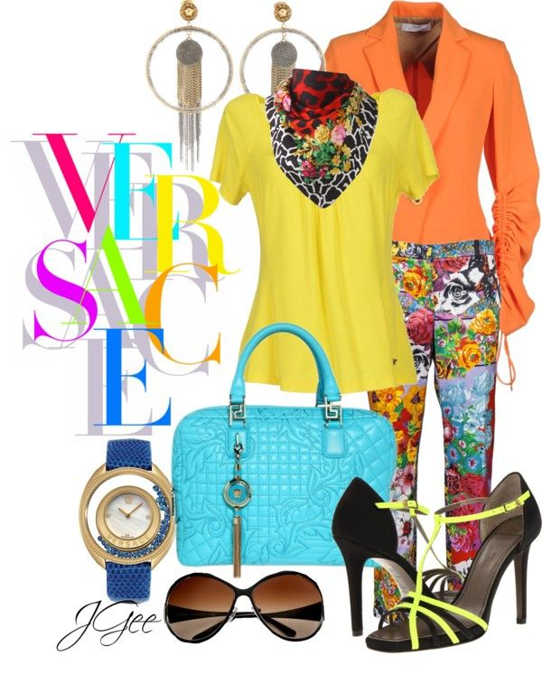 """""""Colorful Versace"""" by jgee67 ❤ liked on Polyvore"""