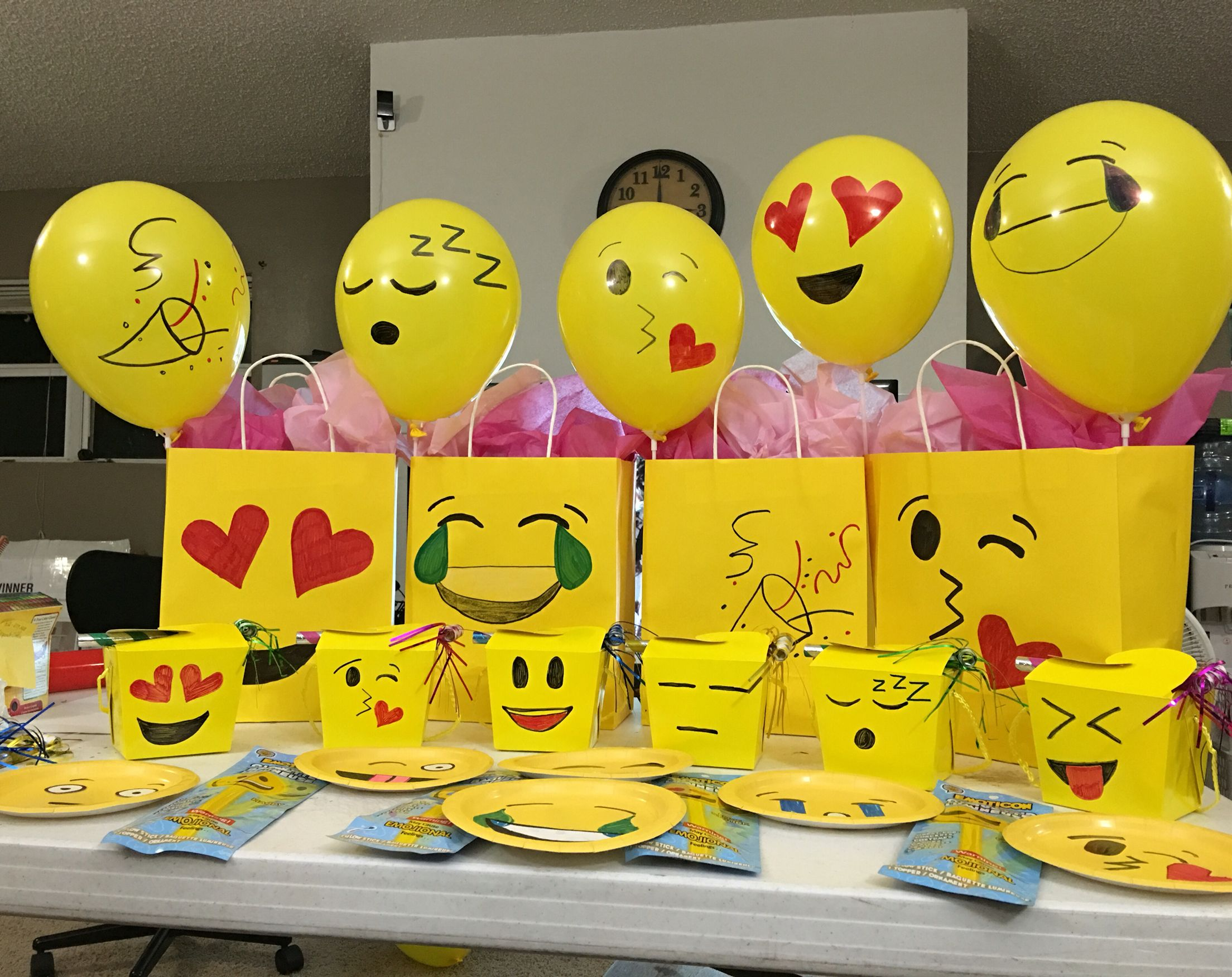 My husband and i made these emoji decorations for our for Decoration emoji