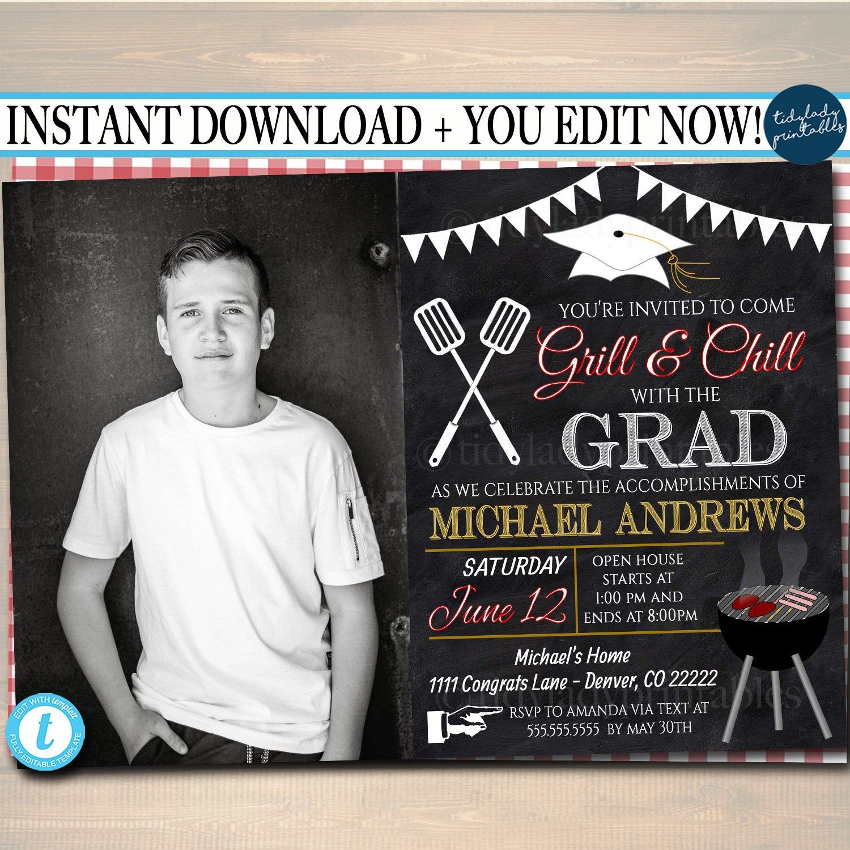Editable bbq graduation invitation chalkboard printable
