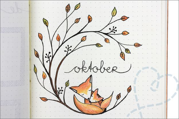 Bullet journal: Oktober, herfst thema #bulletjournaling Bullet journal herfst cover oktober #bulletjournaloctobre