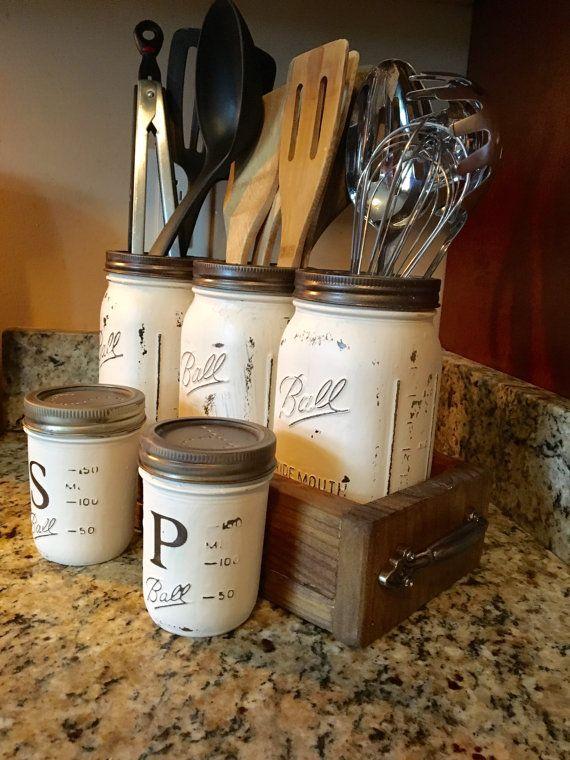 Utensil mason jar holder with salt and pepper by DandEcustom ...