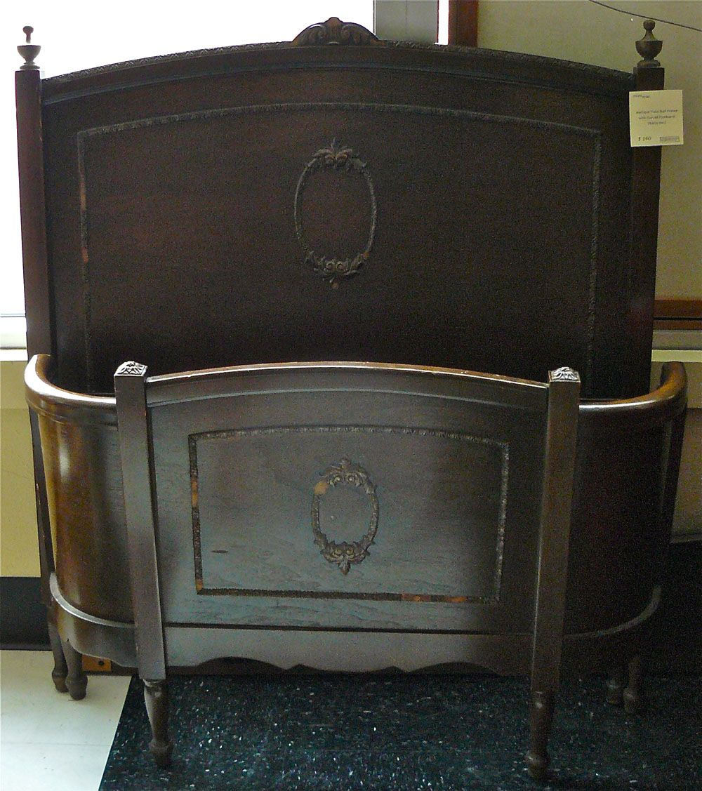 antique wooden beds | Antique twin bed with curved foot-board. In ...