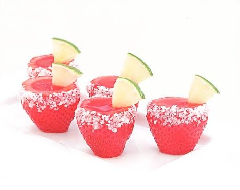 STRAWBERRY MARGARITA JELL-O SHOOTERS...too bad that strawberries come small...