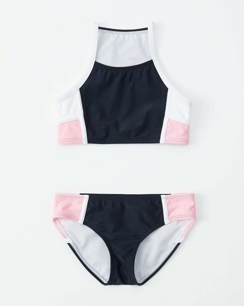 1fec3dde306a2 colorblock high-neck two-piece swimsuit in 2019 | Allie | Swimsuits ...