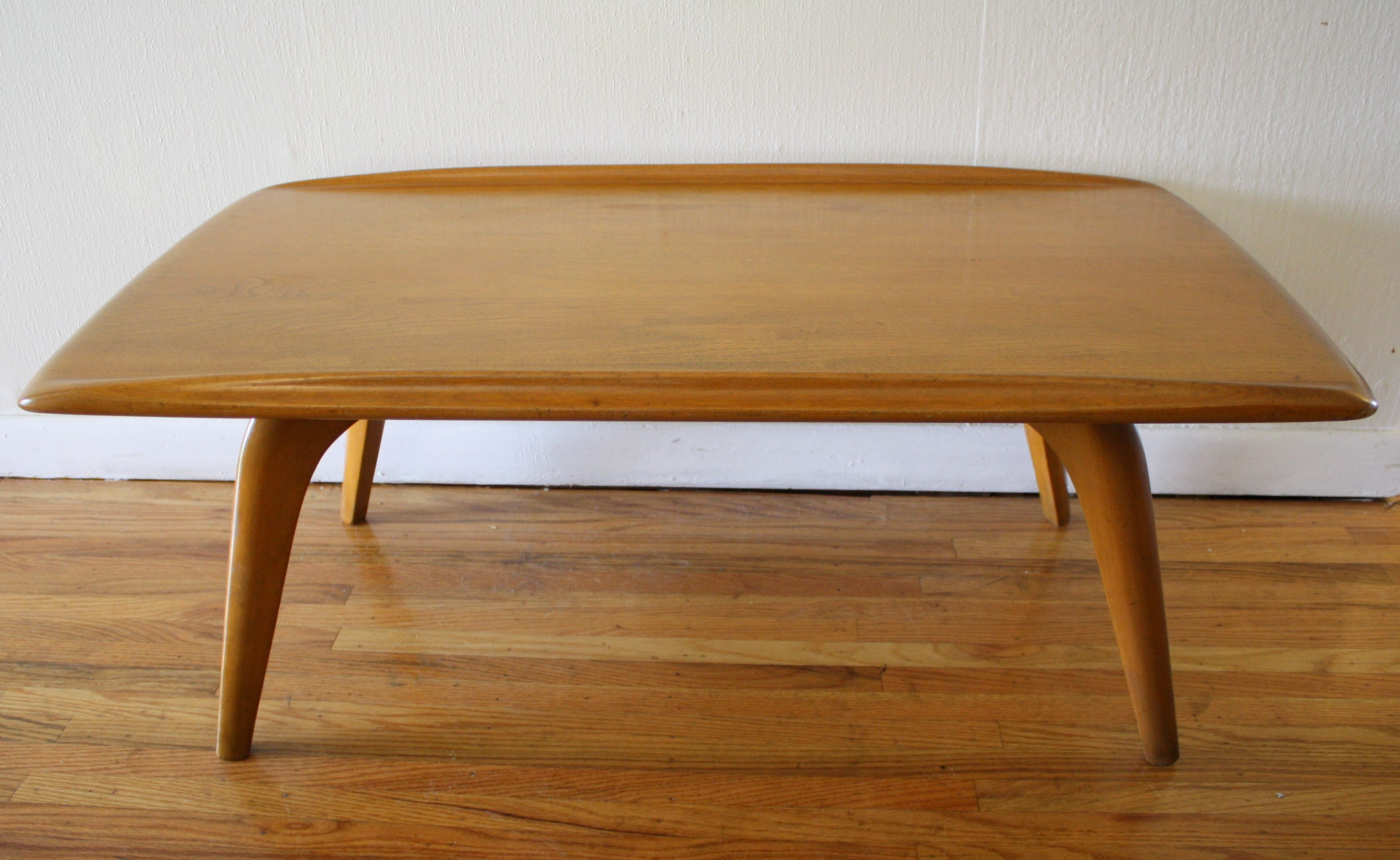 Heywood wakefield coffee table with surfboard edges this