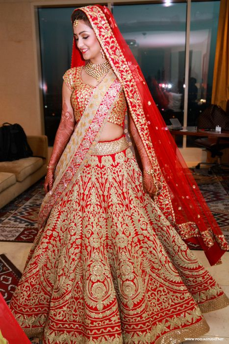 Red all over embrpidered bridal lehenga dubai wedding for Indian wedding dresses online india