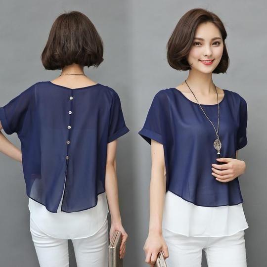 2019 Summer Blouse Women Short Sleeve Chiffon Shirt Ladies Fake Two Piecerricdress #chiffonshorts