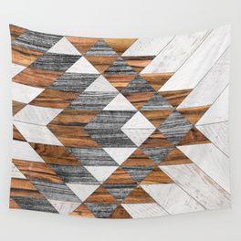 Urban Tribal Pattern 12 Aztec Wood Wall Tapestry