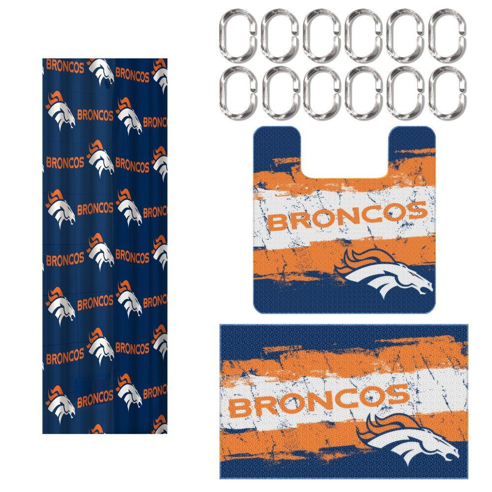 Denver Broncos NFL Football 15pc Bathroom Rug and Shower