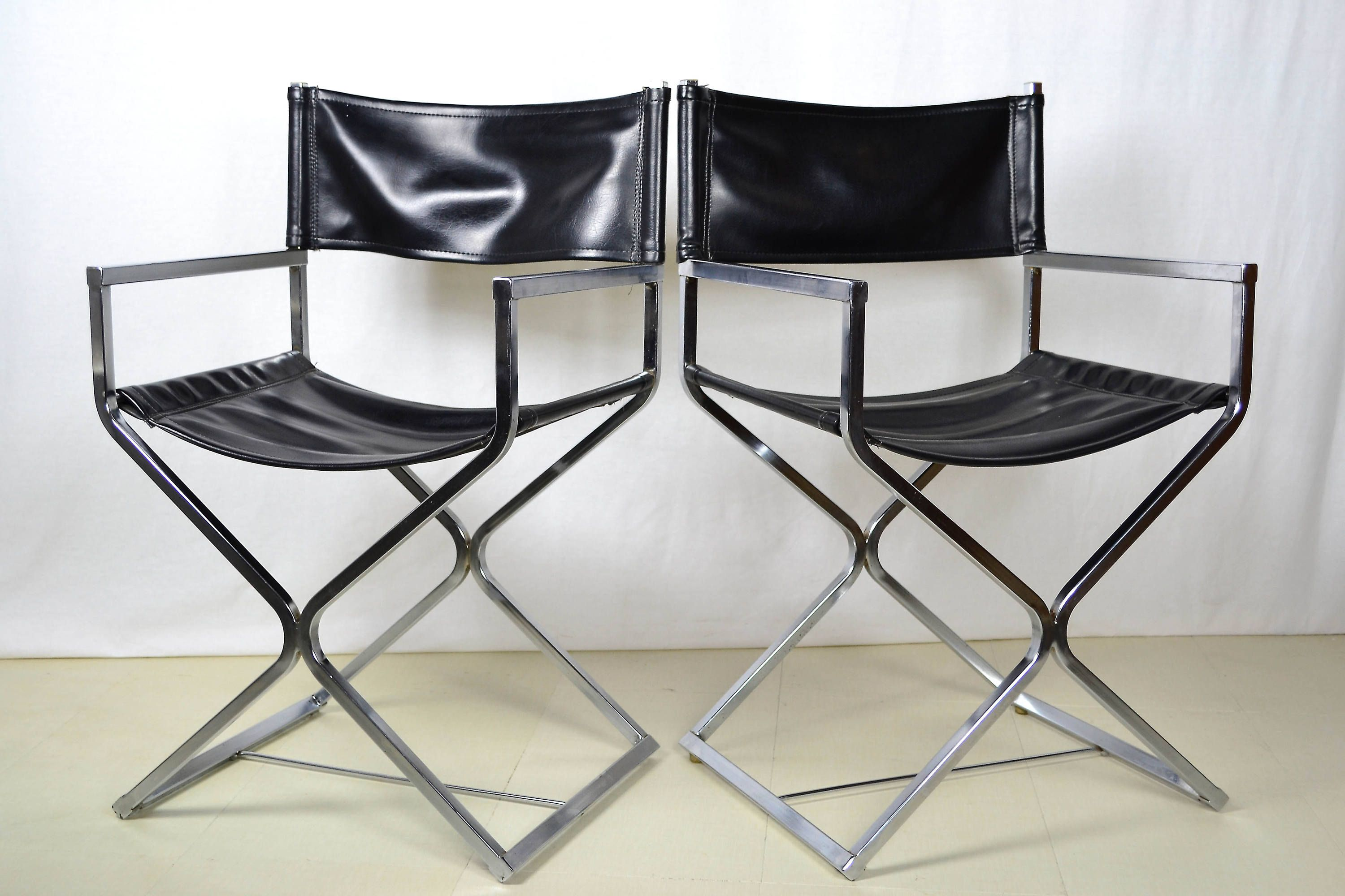 Retro Mid Century Modern Black Leather Chrome Director S Chair X Base Seat By Offcentermodern On Etsy