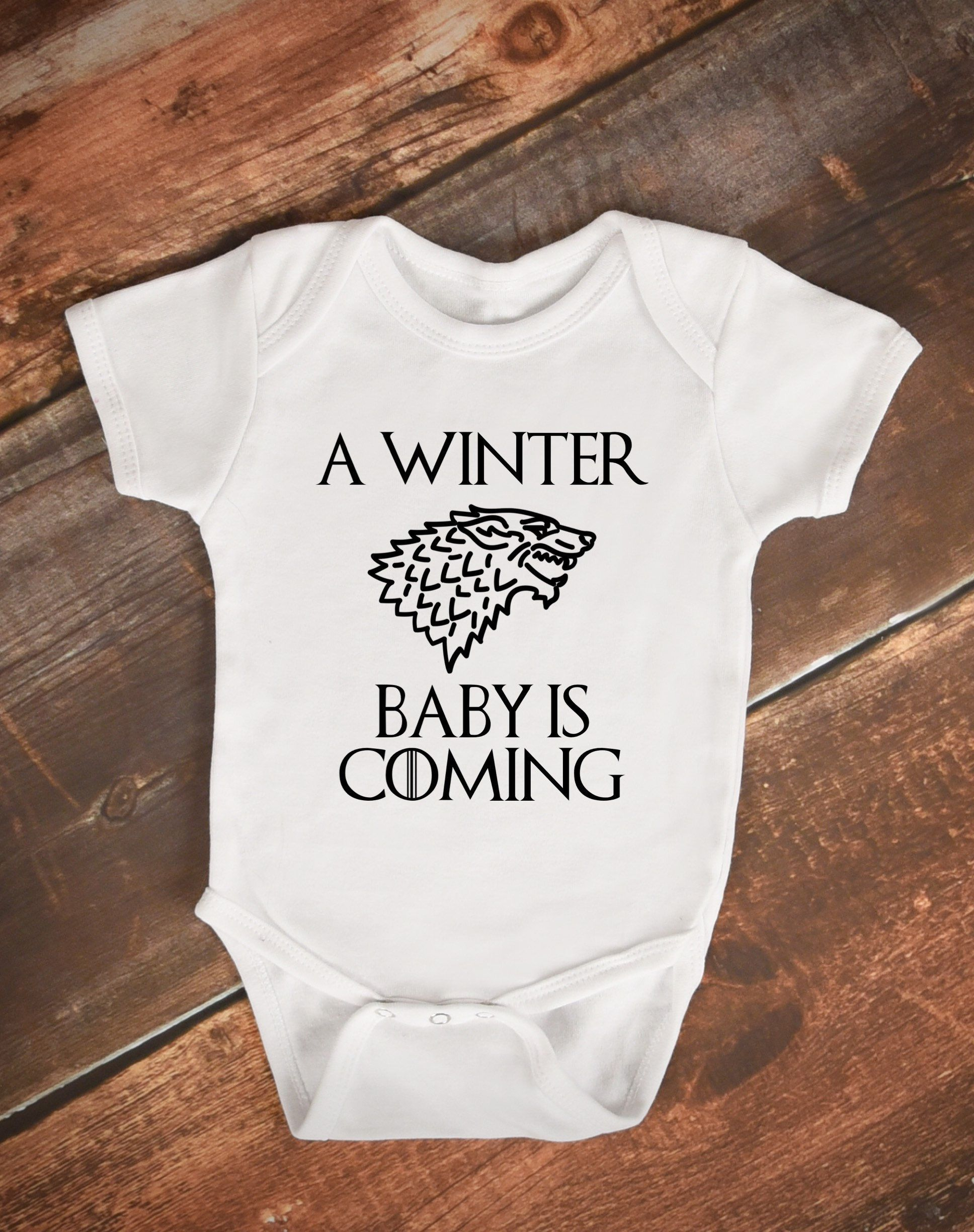 7a1a99901d67c A Winter Baby Is Coming Game of Thrones Baby Outfit/Bodysuit. Pregnancy  Announcement Baby Bodysuit. by FactorV on Etsy