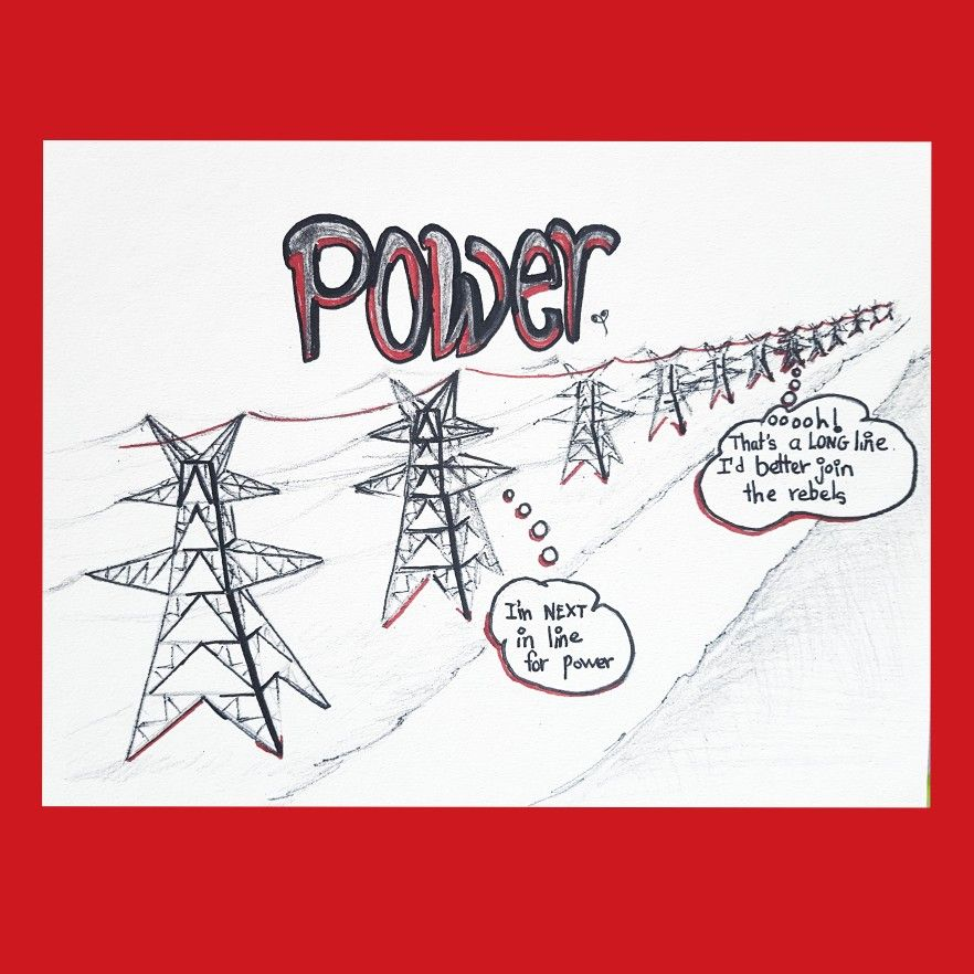 Fallouts join the rebels. The next resembles the first. Change is a rare event. #power #igotthepower #theygotthepower #rebel #rebellion #powerlines #metalstructure #grid #politics #politicalmemes #politicalart #lifeart #electricity #lebanon #art #drawing #meme #comics