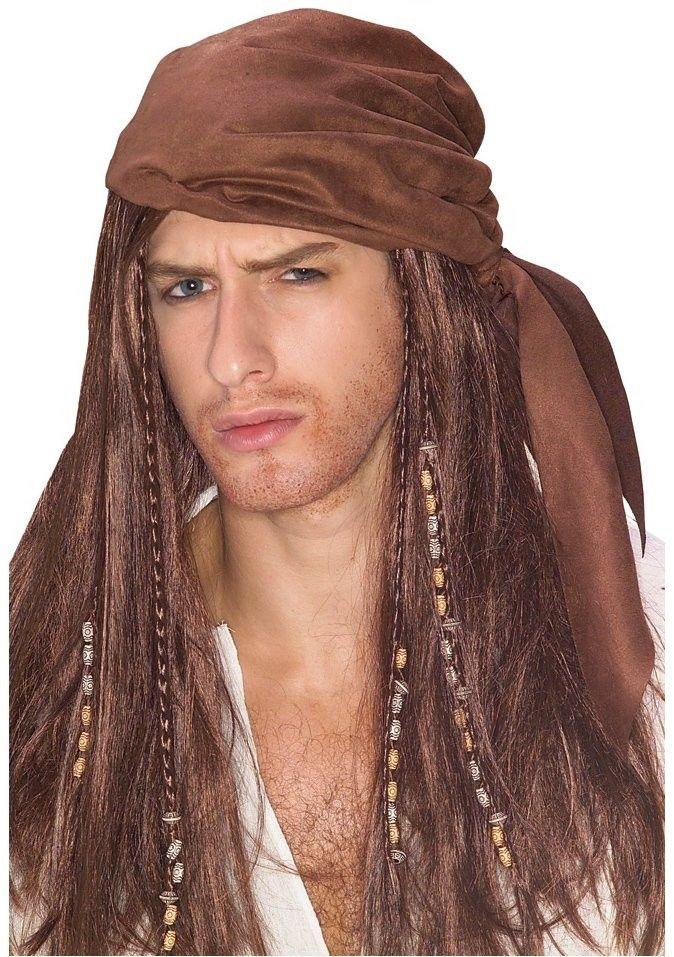 Buccaneer Pirate Adult Wig Headscarf Dreadlocks Beads Costume Accessory Mens New