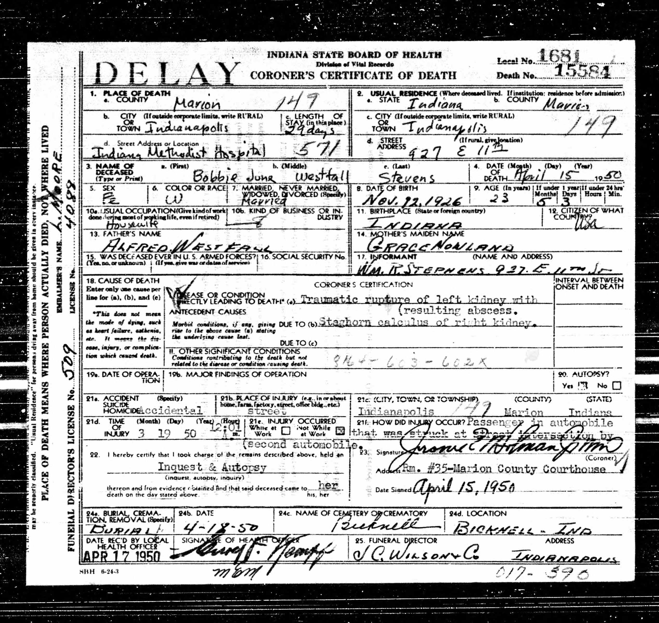 Bobbie June Westfall Stevens Discovered In Indiana Death