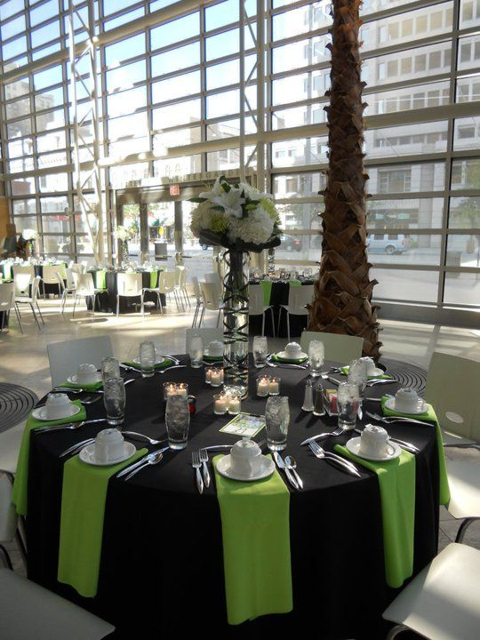 I Am Liking The Green Napkins On The Black Table Cloth