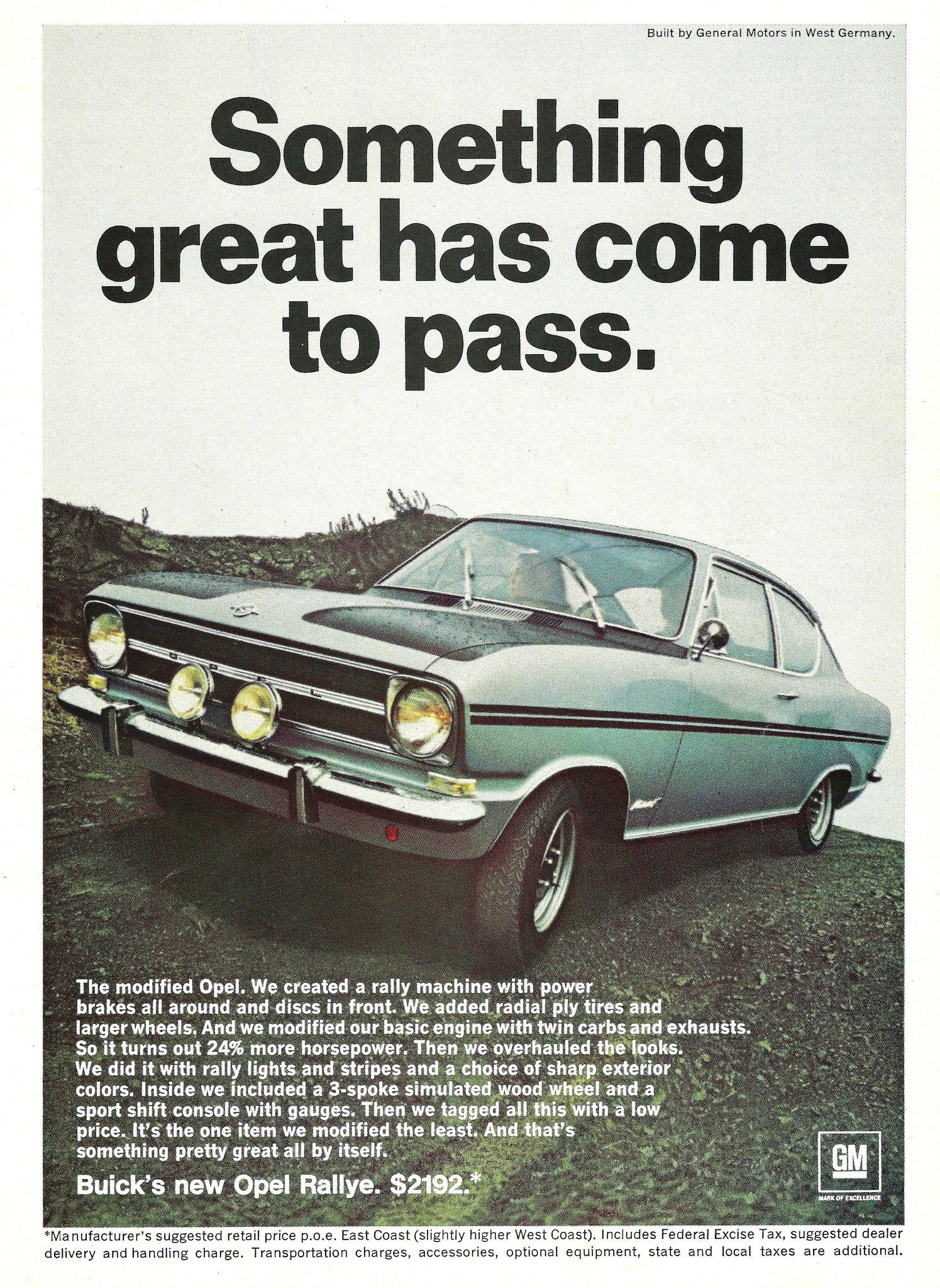 Advertising For The 1967 Opel Rallye Automobile Imported By Buick ...