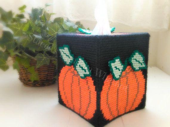 #PlasticCanvas #TissueBoxCover #KleenexCover #Orange #Pumpkin #black background and #dimensional leaves. #HomeDecor #RoomDecor #HolidayDecor #Halloween #Thanksgiving #Autumn #SeaonalDecor