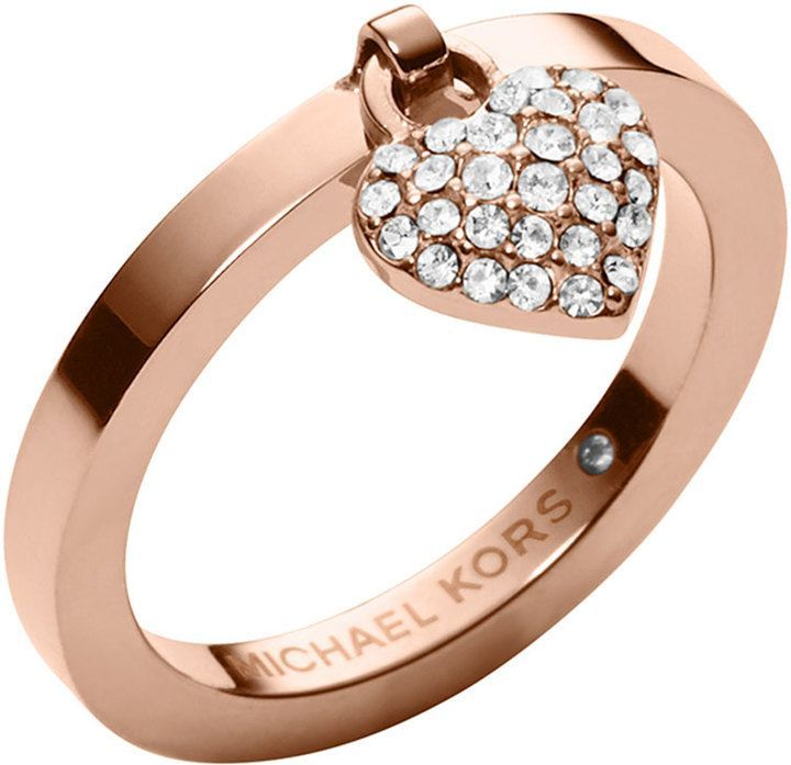 Michael Kors Rose Golden Pave Puffy Heart Charm Ring on shopstyle.com