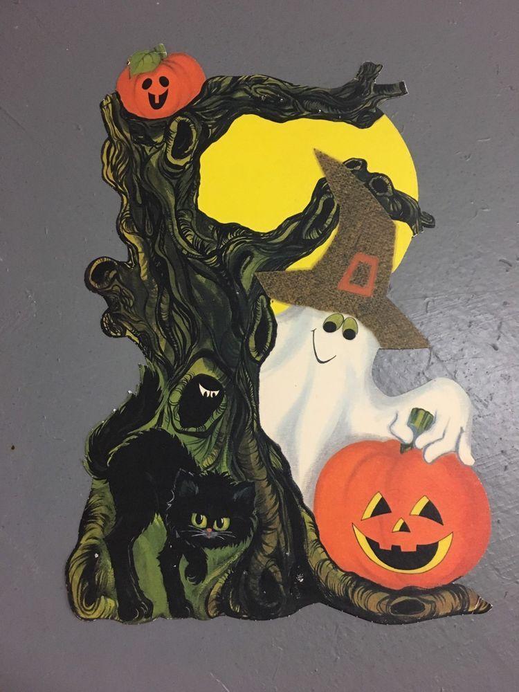 Vintage Halloween Decorations Paper Tree Ghost Cute Die Cut Hallmark