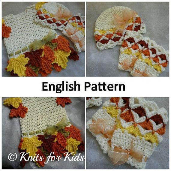 3 English + Dutch Crochet Patterns Baby Set Maple Leaf  Dress + ... c2f47ac0ad3
