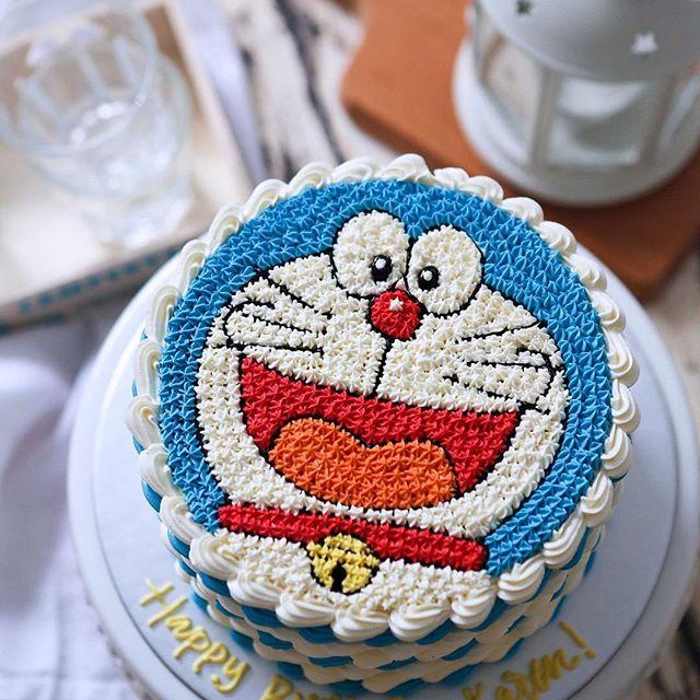 A Matcha Azuki Cake With 2d Buttercream Doraemon For Little