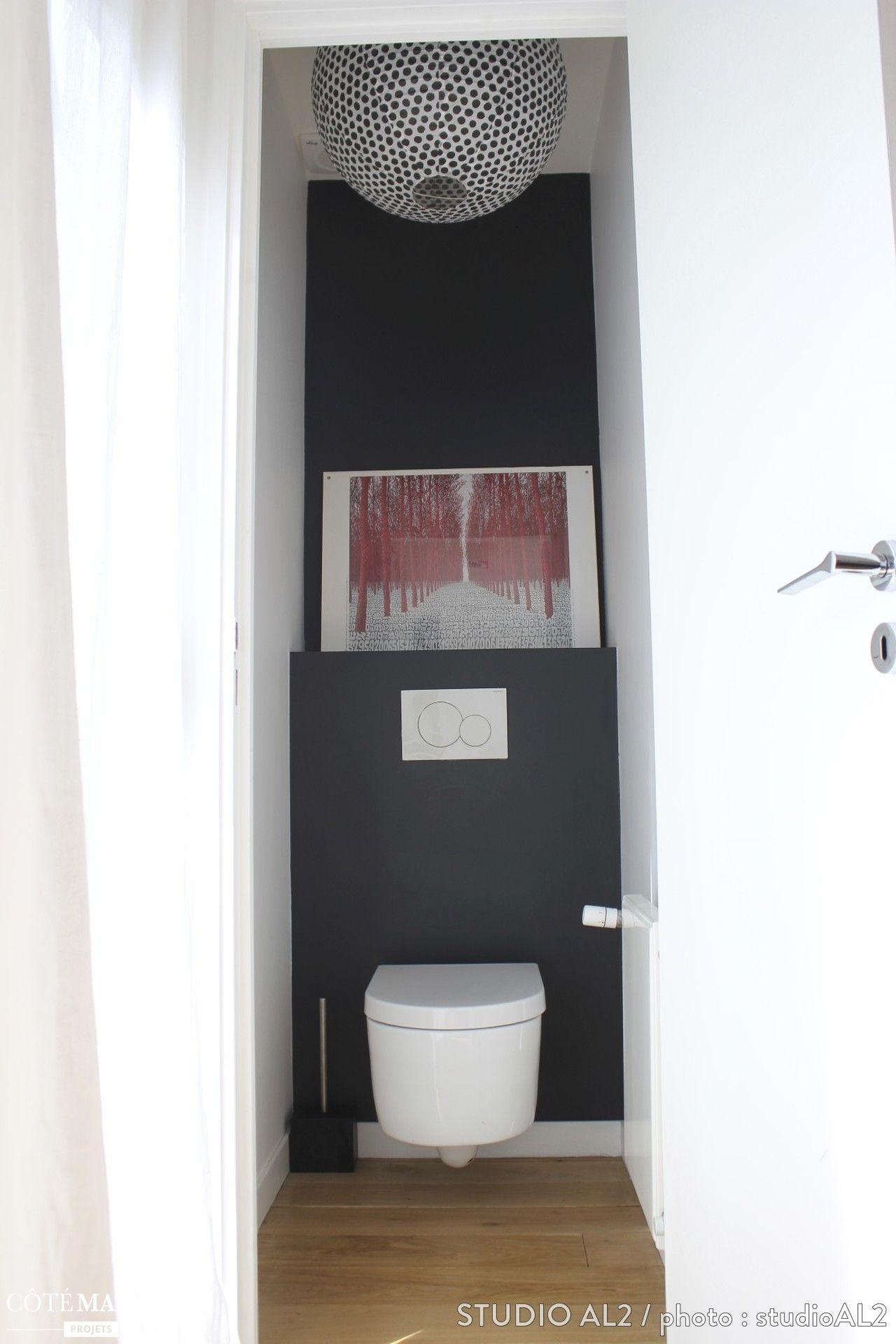 toilettes blanches au mur noir  1 seul tableau d u00e9coratif