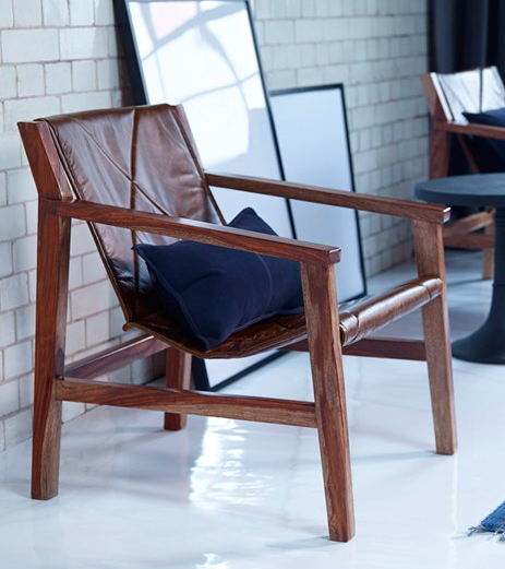 leather sling chair by french connection