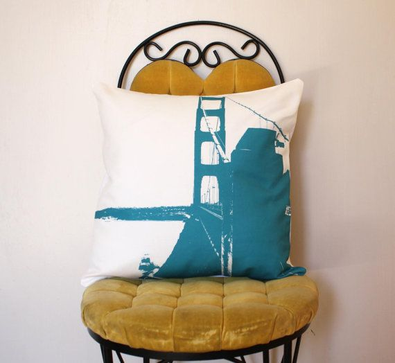 Golden Gate Bridge Pillow  Urban Throw Style no5  by NestaHome