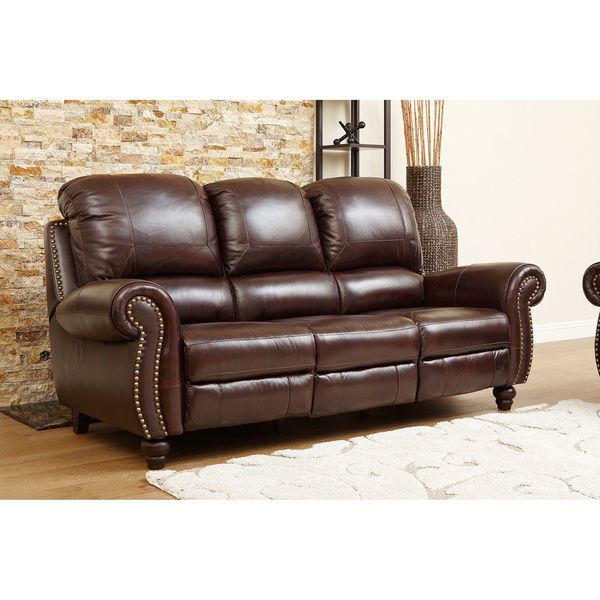 Ordinaire ABBYSON LIVING U0027Madisonu0027 Premium Grade Leather Pushback Reclining Sofa    Overstock Shopping   Big Discounts On Abbyson Living Recliners