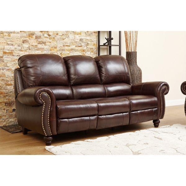 Wonderful ABBYSON LIVING U0027Madisonu0027 Premium Grade Leather Pushback Reclining Sofa    Overstock Shopping   Big