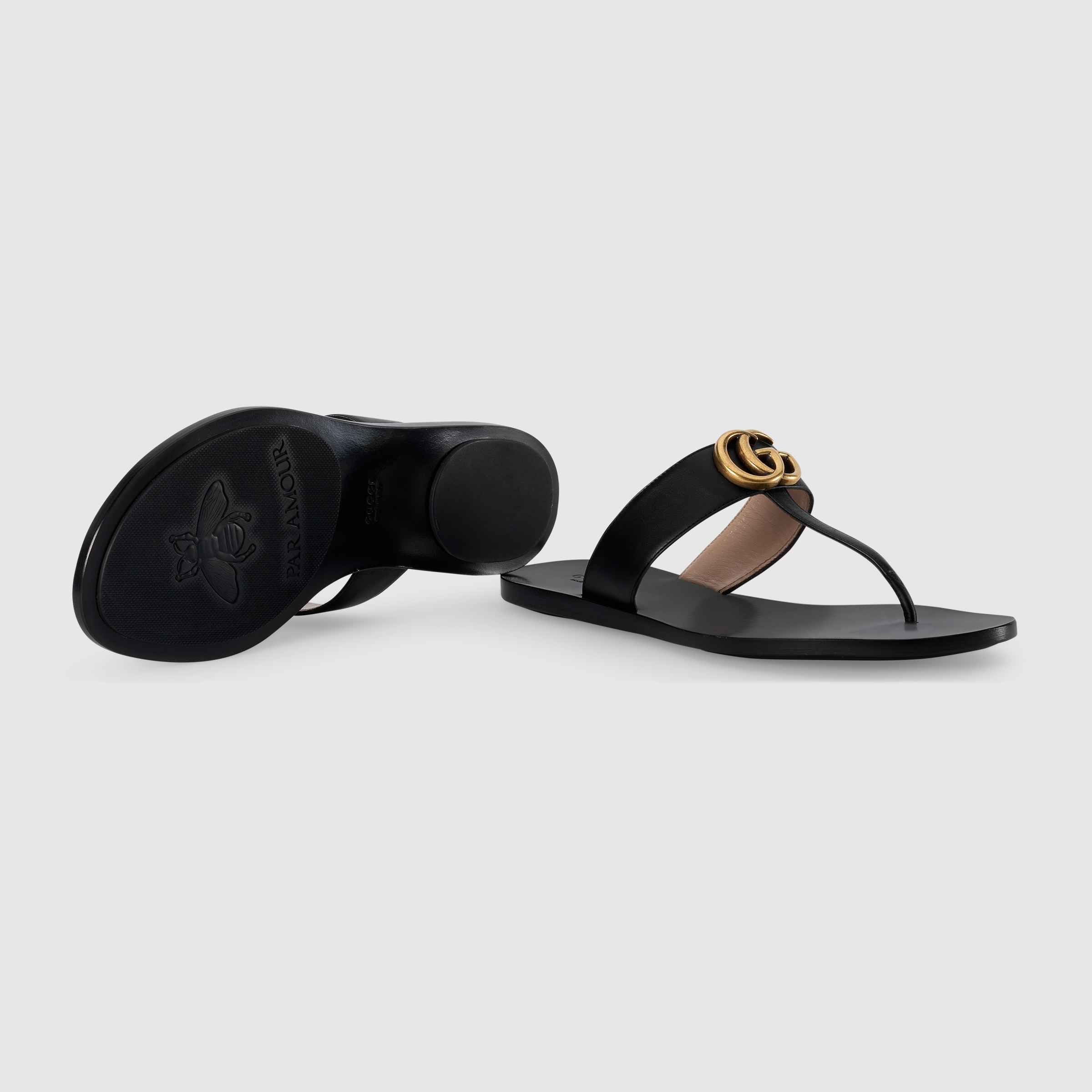 413dc6b0ea3 Shop the Leather thong sandal with Double G by Gucci. The leather thong  sandal is embellished with the Double G hardware—an archival design from  the  70s.