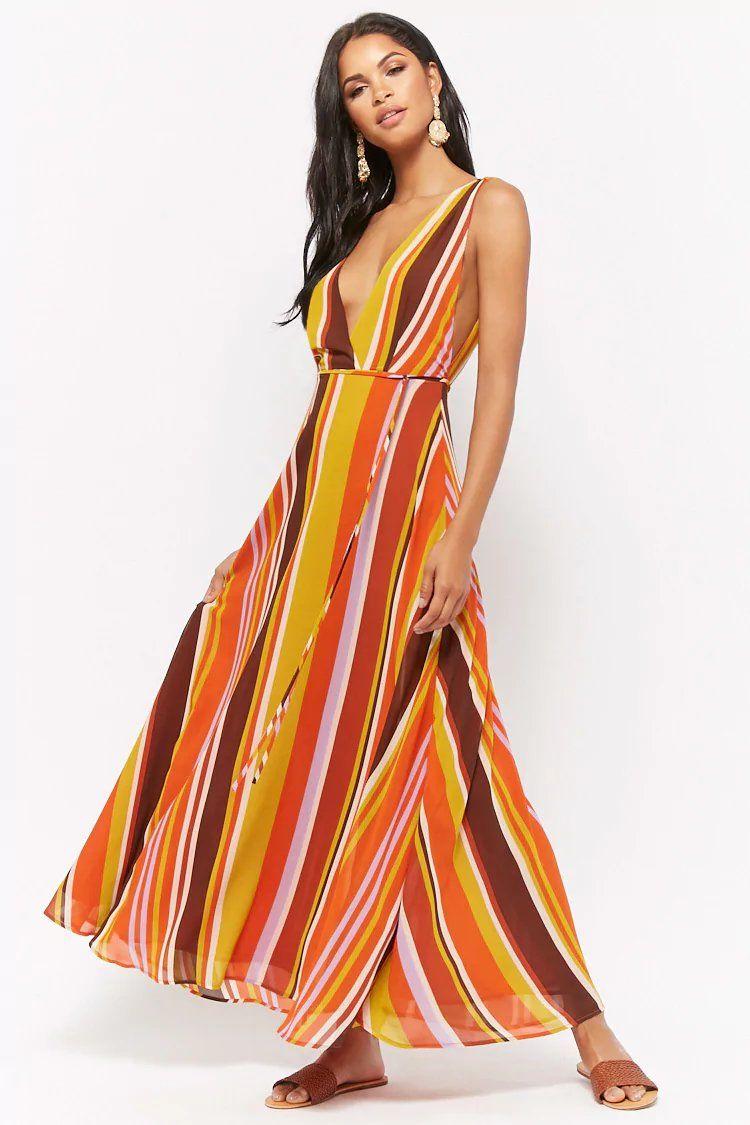 maxi jurk multicolor stripe