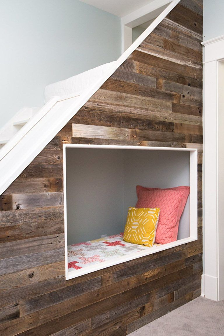 DIY Reclaimed Barn Wood Wall: Just peel and stick to apply ...