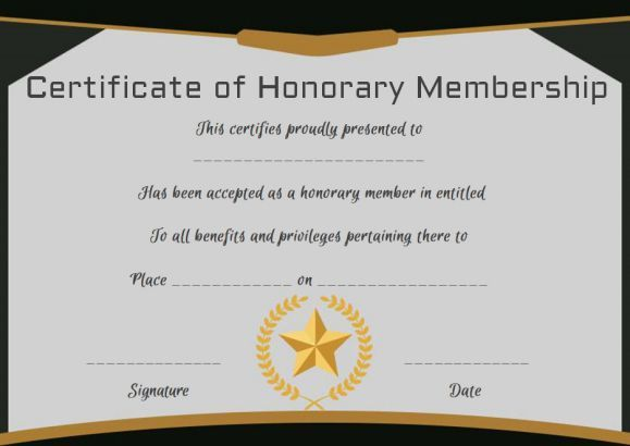 Free Honorary Life Membership Certificate Template