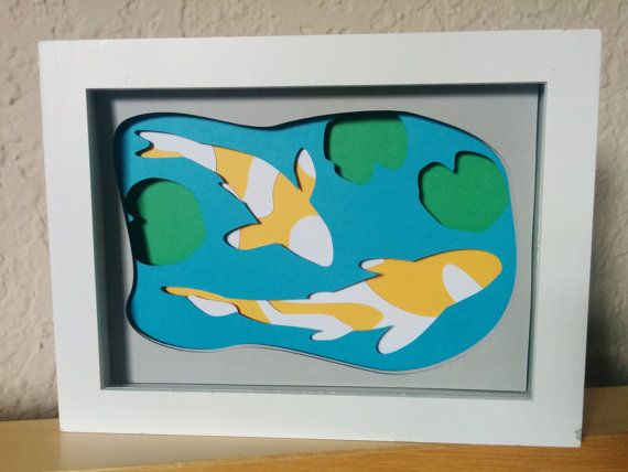 japanese chinese koi layered paper cut art piece 5 x7 shadowbox