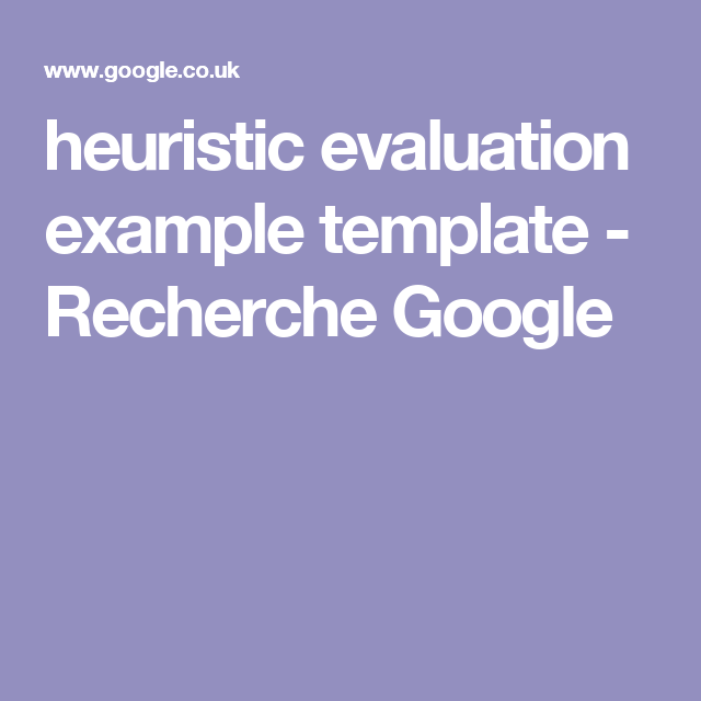 heuristic evaluation example template - Recherche Google | Web ...